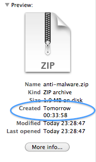 Finder file listing showing a creation date of 'Tomorrow 00:33:58'