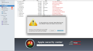 Web page resembling a Finder window showing a fake virus scan