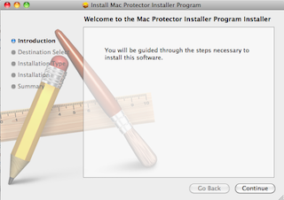 Screenshot: standard Mac installer titled 'Welcome to the Mac Protector Installer Program installer'