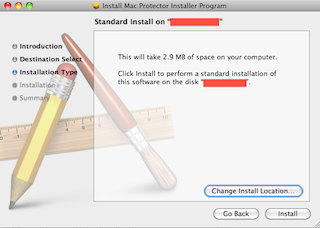 Screenshot: standard Mac installer claiming to need 2.9 MB of space