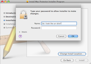 Screenshot: standard Mac installer overlaid by standard password prompt