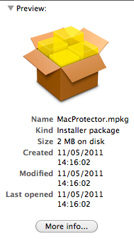 Finder file listing showing MacProtector.mpkg
