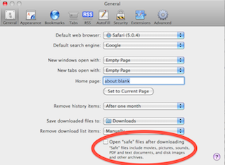 Screenshot: Safari preferences, 'Open safe files after downloading' checkbox highlighted